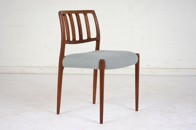 Carved Set of Six Mid-Century Modern Niels Otto Moller Dining Room Chairs For Sale