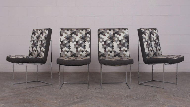 American Set of 8 Modern Milo Baughman for Thayer Square Chrome Framed Dining Chairs For Sale