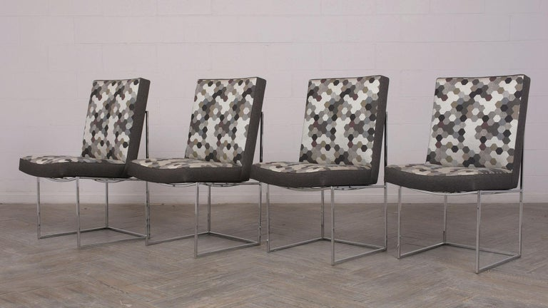 Polished Set of 8 Modern Milo Baughman for Thayer Square Chrome Framed Dining Chairs For Sale