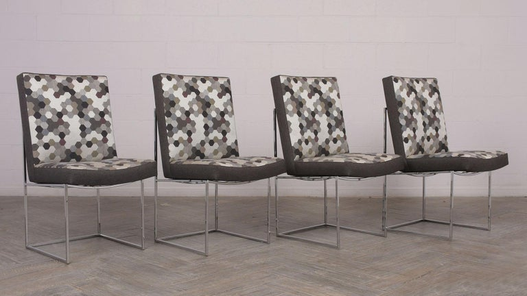 Set of 8 Modern Milo Baughman for Thayer Square Chrome Framed Dining Chairs In Good Condition For Sale In Los Angeles, CA