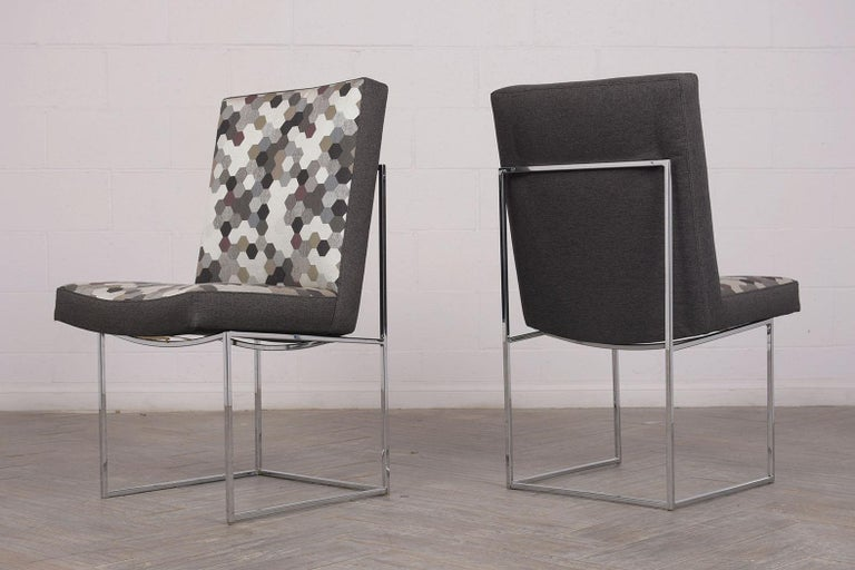 Fabric Set of 8 Modern Milo Baughman for Thayer Square Chrome Framed Dining Chairs For Sale