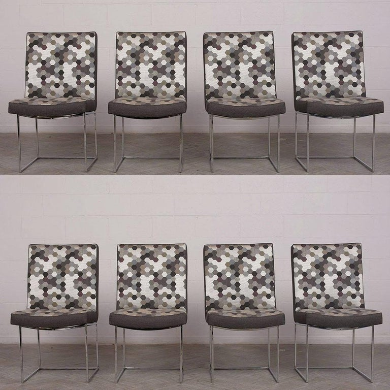 Late 20th Century Set of 8 Modern Milo Baughman for Thayer Square Chrome Framed Dining Chairs For Sale