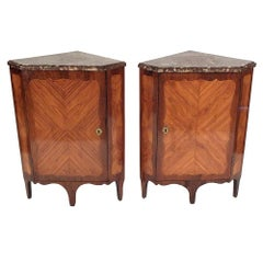 19th Century Louis XVI-style Pair of Corner Cabinets