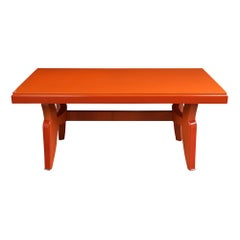 Modern French Orange Lacquered Writing Desk