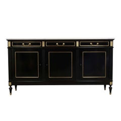 French 1930s Ebonized Louis XVI Style Mahogany Buffet with Carrara Marble Top