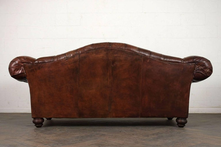 20th Century Hickory Chesterfield Tufted Leather Sofa For Sale