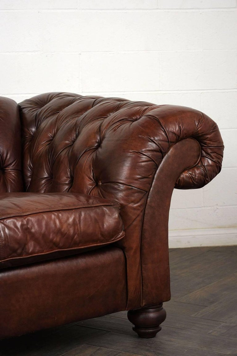 Hickory Chesterfield Tufted Leather Sofa For Sale 1
