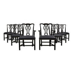 Set of Eight Regency-Style Dining Chairs with an Ebonized Finish