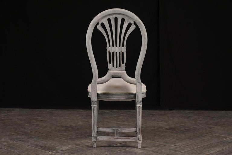 European Set of Six Distressed Finish Regency Style Dining Chairs For Sale