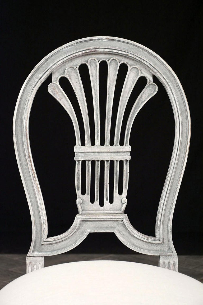 Set of Six Distressed Finish Regency Style Dining Chairs For Sale 1