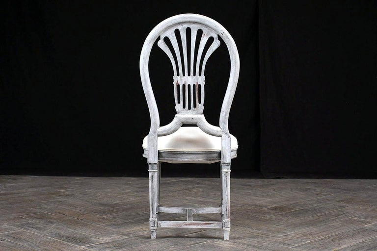 Set of Six Distressed Finish Regency Style Dining Chairs For Sale 2