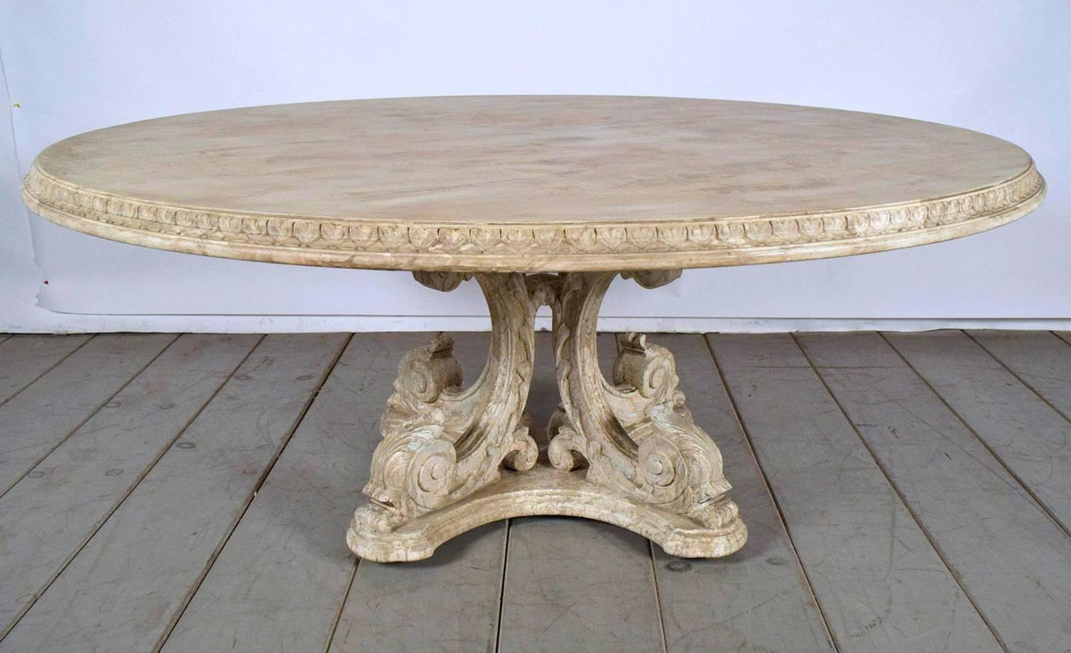 Round Painted Carved Dining Table With Distressed Finish For Sale At