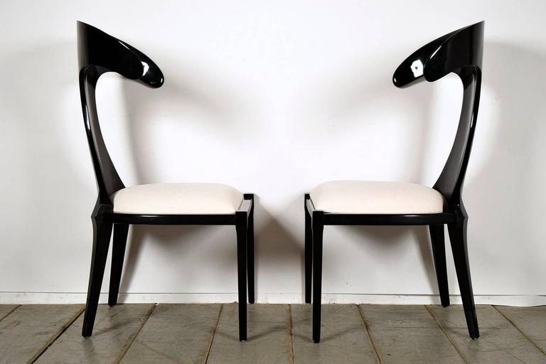 Late 20th Century Set of Two Modern Lacquered Italian Chairs For Sale