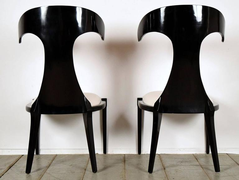 Plywood Set of Two Modern Lacquered Italian Chairs For Sale