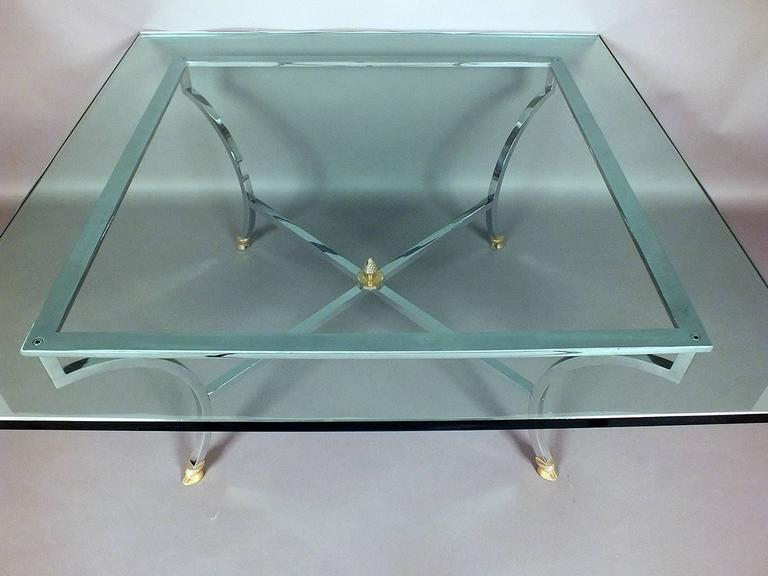 European Hollywood Regency Chrome and Glass Coffee Table  For Sale
