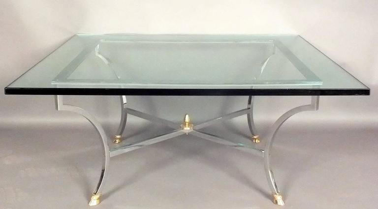 Hollywood Regency Chrome and Glass Coffee Table  In Excellent Condition For Sale In Los Angeles, CA