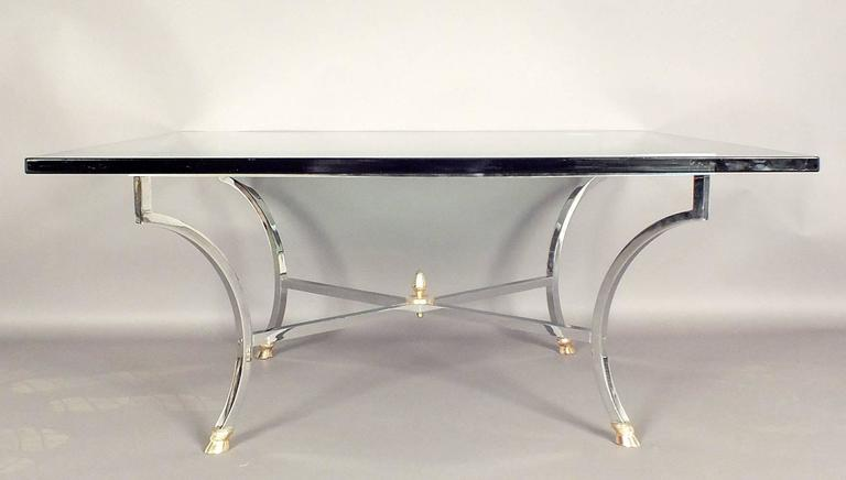 Hollywood Regency Chrome and Glass Coffee Table  For Sale 1