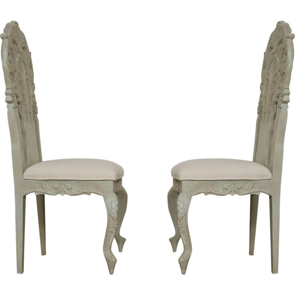 Set Of Six Italian Rococo Painted Dining Chairs For Sale