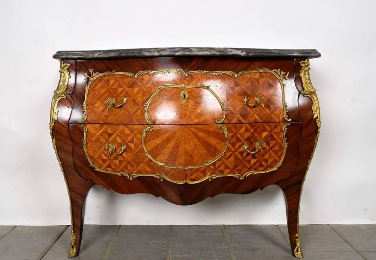 Pair of french louis xv kingwood bombay chest drawers