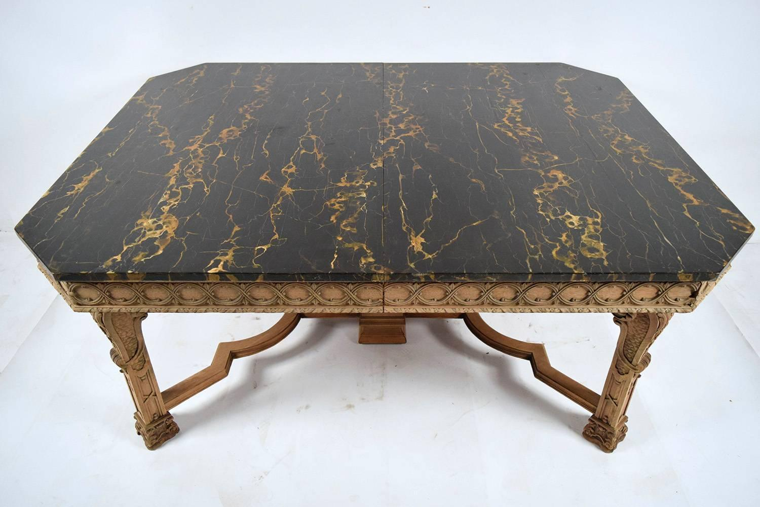 Antique Regency Style Dining Table With Faux Marble Top