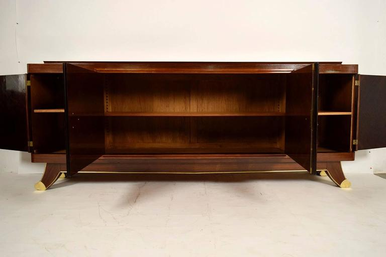 French Marquetry Art Deco Four-Door Mahogany Buffet 4