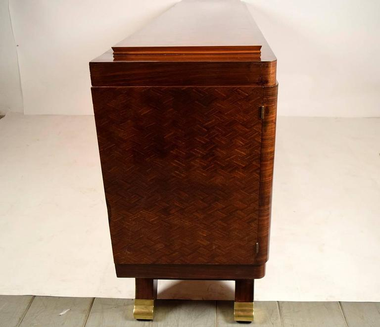 French Marquetry Art Deco Four-Door Mahogany Buffet 8