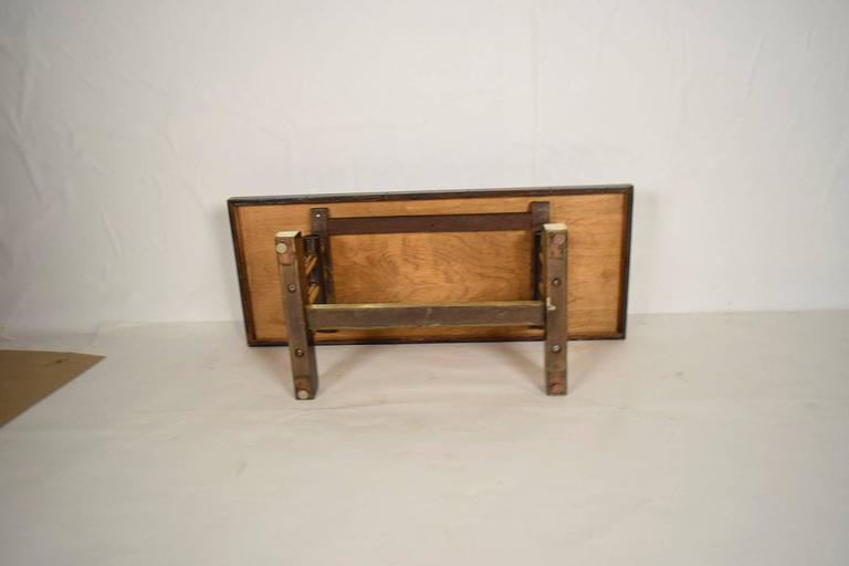 French Leather and Brass Coffee Table For Sale 3