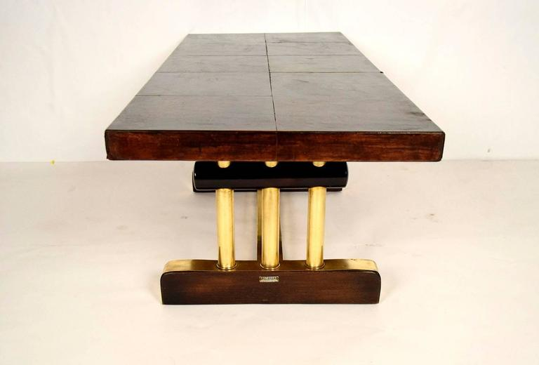 French Leather and Brass Coffee Table In Excellent Condition For Sale In Los Angeles, CA
