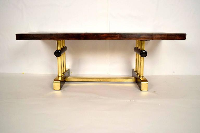 Modern French Leather and Brass Coffee Table For Sale