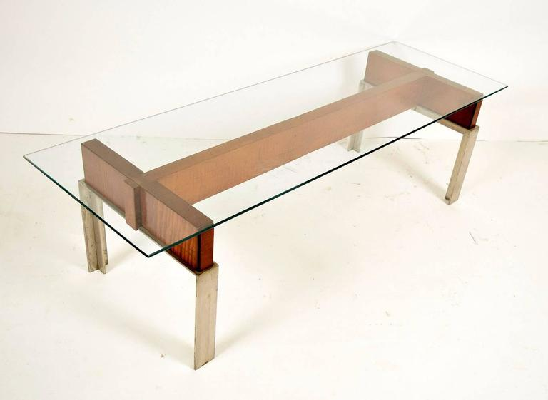 Mid Century Modern Chrome And Wood Coffee Table For Sale At 1stdibs