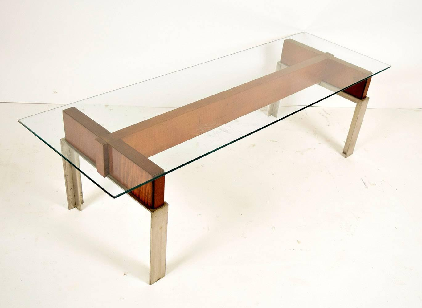 1970 39 s mid century modern style chrome base coffee table for Modern chic coffee tables