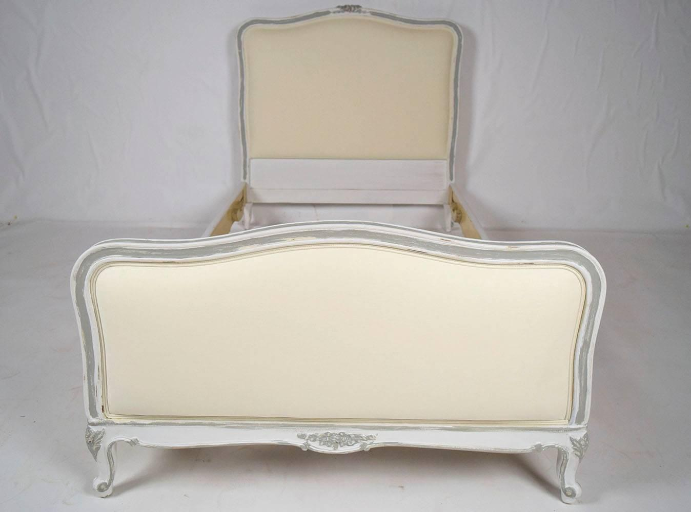 Pair of french antique painted louis xv twin size bed for Twin bed frames for sale