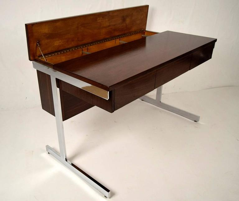 Carved Mid-Century Modern Rosewood and Chrome Compartment Desk For Sale