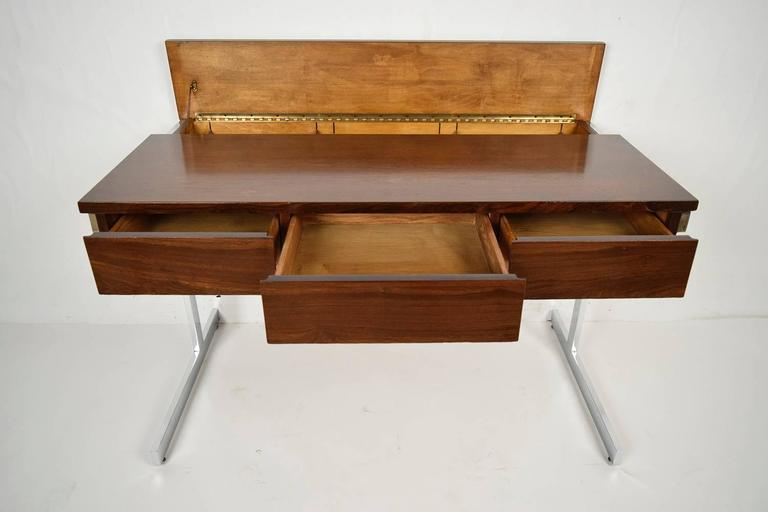 Mid-Century Modern Rosewood and Chrome Compartment Desk In Excellent Condition For Sale In Los Angeles, CA