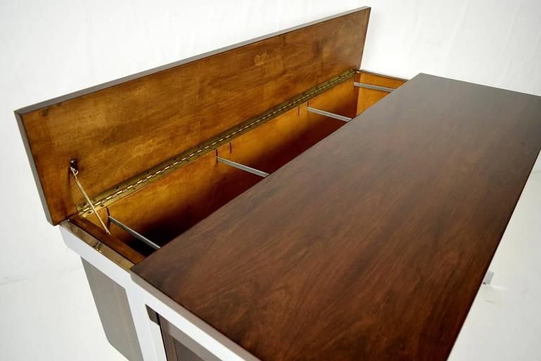 European Mid-Century Modern Rosewood and Chrome Compartment Desk For Sale