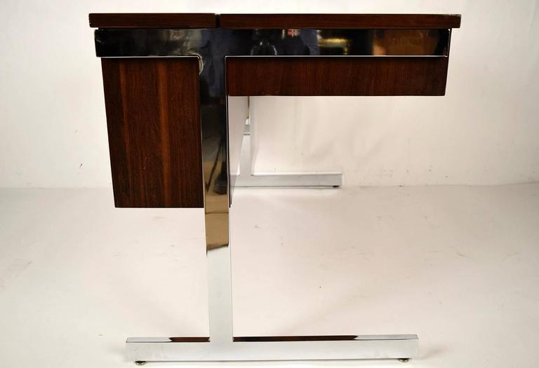 Steel Mid-Century Modern Rosewood and Chrome Compartment Desk For Sale