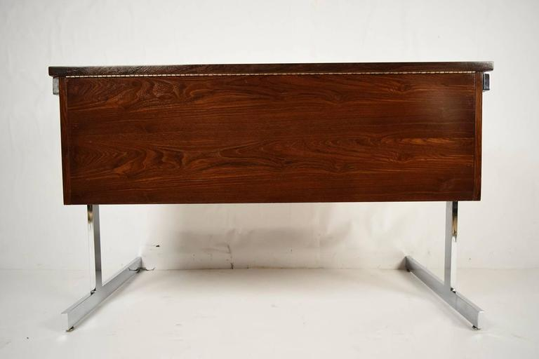 Mid-Century Modern Rosewood and Chrome Compartment Desk For Sale 1