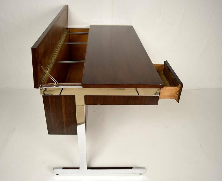 20th Century Mid-Century Modern Rosewood and Chrome Compartment Desk For Sale
