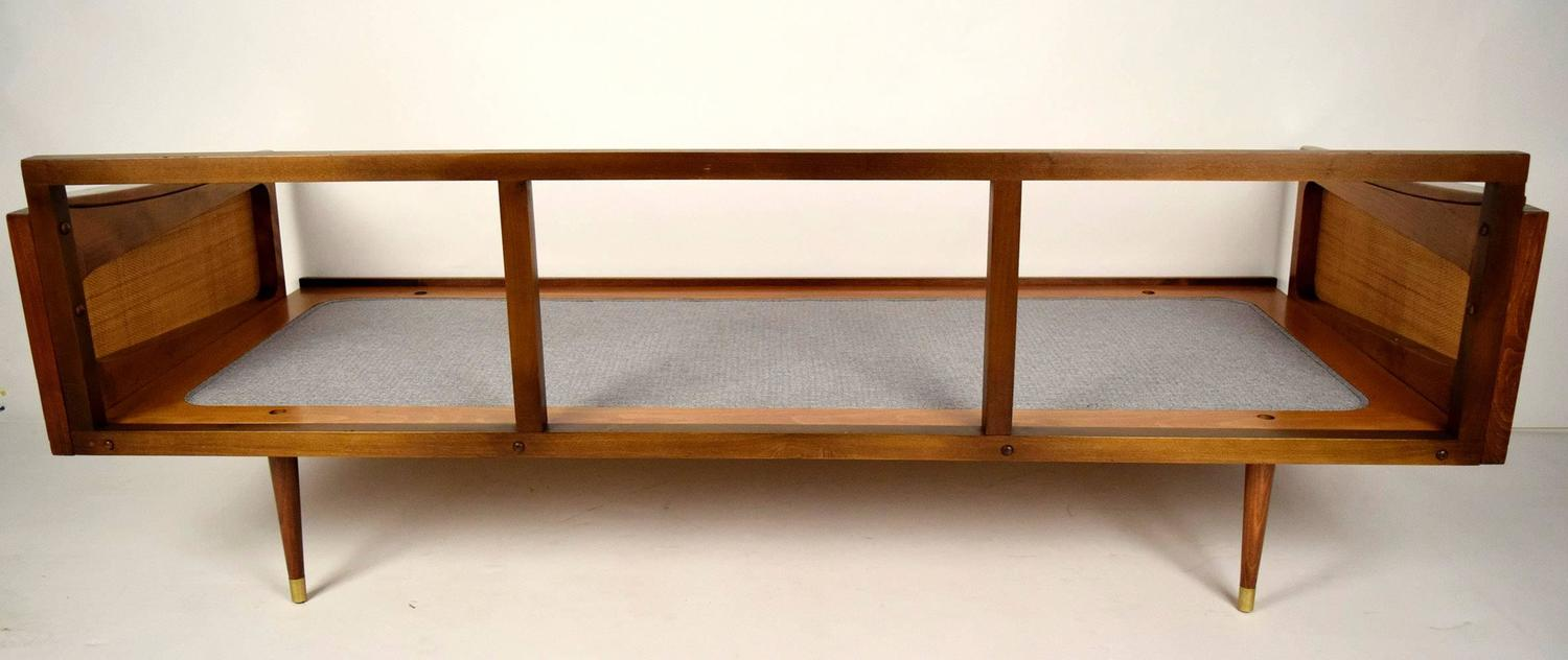Mid century walnut modern sofa for sale at 1stdibs for Mid century modern sofa for sale