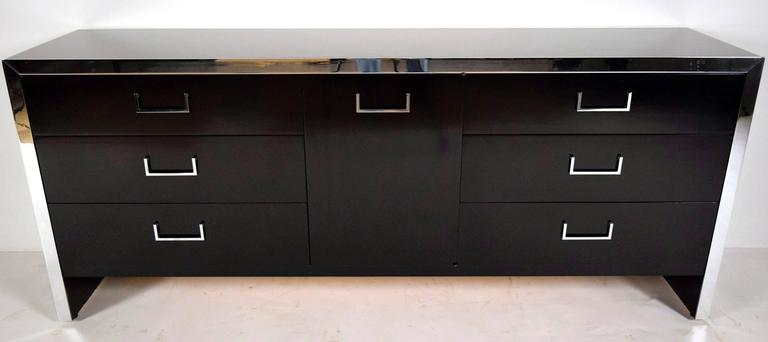 American Mid-Century Modern Chrome Credenza or Chest of Drawers For Sale