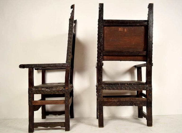 Pair of 18th Century Spanish Colonial Throne Chairs For Sale 2