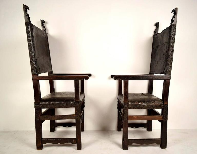 Pair of 18th Century Spanish Colonial Throne Chairs For Sale 1