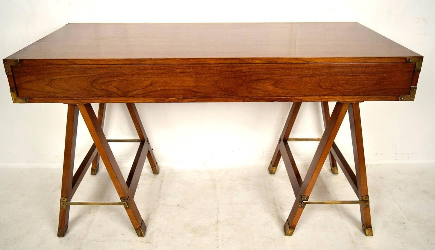 Campaign desk with sawhorse legs for sale at 1stdibs Sawhorse desk legs