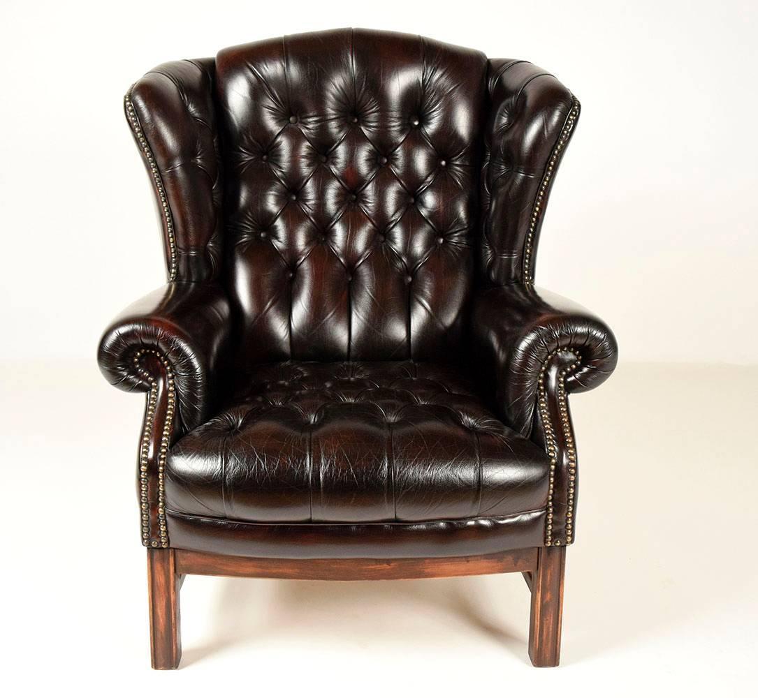 sinlgle vintage tufted leather wingback chair at 1stdibs. Black Bedroom Furniture Sets. Home Design Ideas
