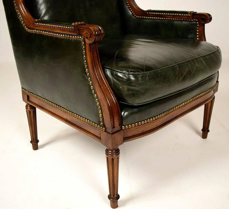 Bon Elegant 1960s Louis XVI Style Wingback Chair. Solid Maple Wood Carved  Frame, Original Dark