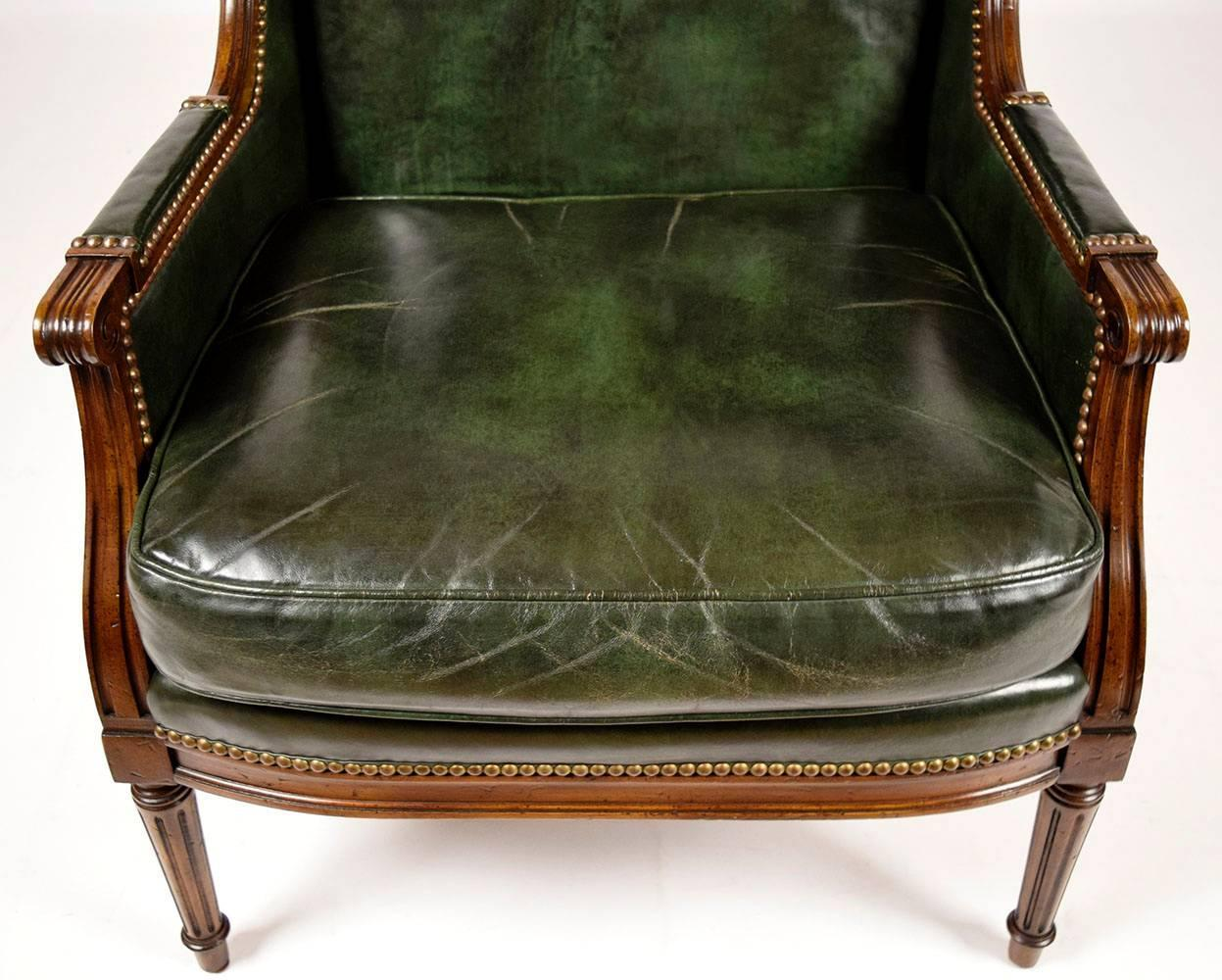 Vintage Hickory Leather Wingback Chair For Sale At 1stdibs