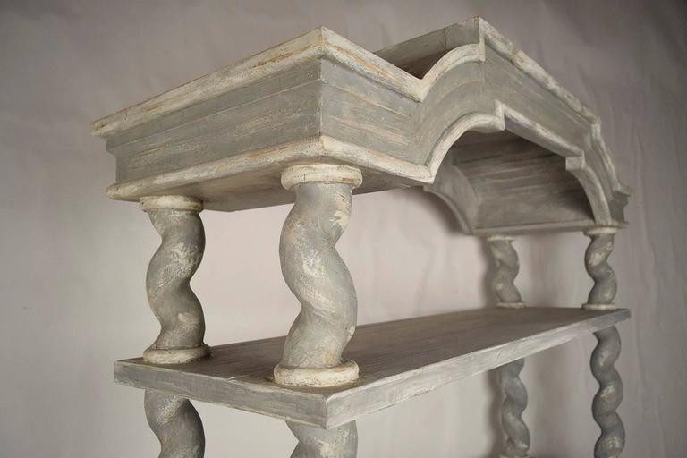20th Century Italian Baroque Carved Wood Etagere For Sale