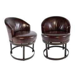 Pair of Vintage Leather Swivel Chairs