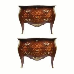 Pair of French Louis XV Style Marquetry Chest of Drawers/Commodes