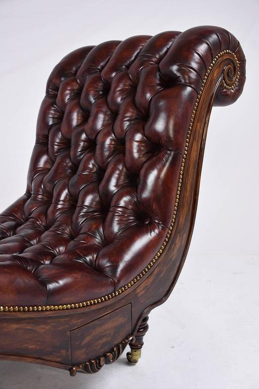 Chesterfield tufted leather chaise lounge at 1stdibs - Chaise chesterfield cuir ...